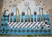 Iconic untitled mural by South African artist Ali Aschman at the India Street Mural Project,Brooklyn