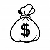 image of sack dollar  - Dollar Money Icon with Bag on White Background - JPG