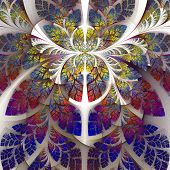 Fabulous Fractal Pattern In Purple, Blue And Yellow. Collection - Tree Foliage. Computer Generated G