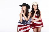 Fanciful Joyful Women Cowgirls And American Flag