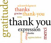image of thankful  - illustration of the word thank you in word clouds isolated on white background - JPG
