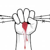 picture of revolt  - Clenched fist hand in blood with barbed wire vector - JPG