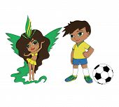 foto of brazil carnival  - girl and boy from Brazil carnival and football - JPG