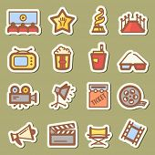 stock photo of soffit  - Collection of different color cinema tag icons - JPG