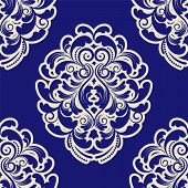 Seamless Blue Damask