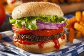 picture of veggie burger  - Homemade Healthy Vegetarian Quinoa Burger with Lettuce and Tomato