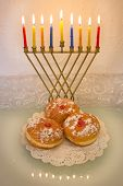 Hanukkah Menorah And Doughnuts