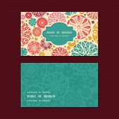 Vector abstract decorative circles horizontal frame pattern business cards set