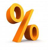 Orange percent symbol on a white background