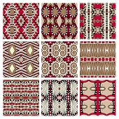set of different seamless colored vintage geometric pattern,
