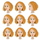 Set of variation of emotions of the same girl with red hair.