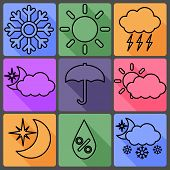 Weather Vector Icons on a Colored Background, with Shadows