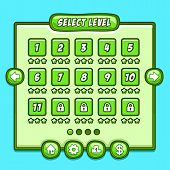 Постер, плакат: Green game level select icons buttons