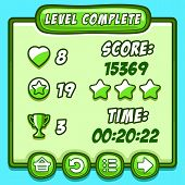 Green game level complete icons buttons
