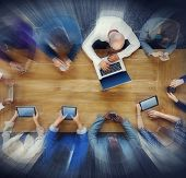 Business People Digital Devices Searching Meeting Concepts