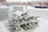Stack Of Wrapped Cutlery