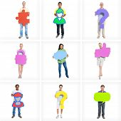 Diverse People Holding Speech Bubbles Communication