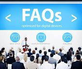 Business People Presentation Seminar FAQs Concept