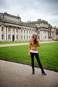 Woman in Front of Old Royal Naval College and Grounds in Greenwich, London, England