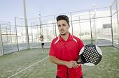 Paddle Tennis Player Ready For Serve