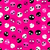 white, black and pink skulls background, seamless pattern