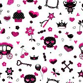black princess accessories seamless pattern