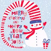 Merry Christmas and Happy New 2015 Year concept card. Funny snowman with gifts in bright colors in vector