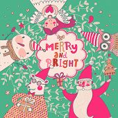 Stylish vector Merry and Bright card. Cute Santa Claus, Funny Bear in glasses, sweet Snowman, lovely Angel and nice Owl in cartoon childish holiday card