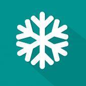 Snowflake flat icon on green background
