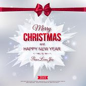 Happy New Year 2015 typographical celebration concept with silk red bow over shining chrystal backgr