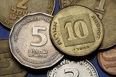 Coins of Israel. Israeli five and ten agorot coins.