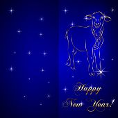Vector sketch of sheep, symbol New Year on blue Background