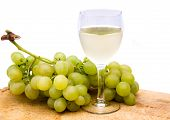White wine with grapes
