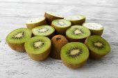 Juicy kiwi on wooden table