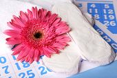 Sanitary pads and pink flower on blue calendar background
