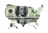 Map Of Usa Shaped By Usd Paper Currency