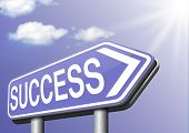success road sign successful in business and life