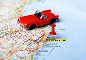 Barcelona ,spain Map and Car