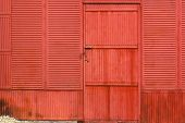 Rusty Corrugated Metal Red Wall And Door