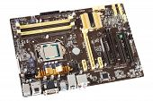foto of processor socket  - Typical new PC computer motherboard with socket 1150 - JPG