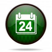 calendar green internet icon