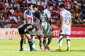 Sisaket Thailand-october 22: The Referee Use The Vanishing Spray During Thai Premier League Between