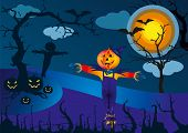 Scarecrow and pumpkins in scary Halloween night - vector illustration