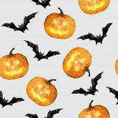 Seamless with pumpkin and bat halloween background - vector illustration