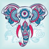 foto of indian elephant  - Vector Indian Decorative Elephant on the Henna Indian Ornaments - JPG