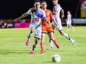 Sisaket Thailand-october 22: Nataporn Panrit Of Air Force Central Fc. In Action During Thai Premier