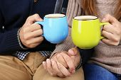 picture of hot couple  - Loving couple with hot drinks - JPG