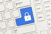 White Conceptual Keyboard - Lock Icon (blue Key)