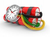 stock photo of time-bomb  - time bomb with dynamite and timer on white background - JPG