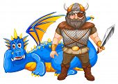 illustration of a viking and a dragon